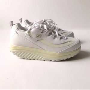 Skechers Shape Ups White Leather Sneakers Shoes 8